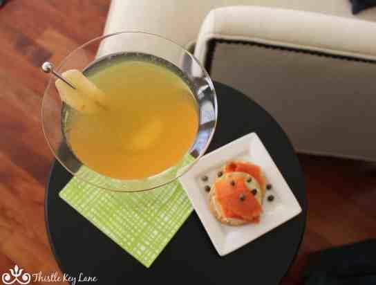 Ginger Martini with crystalized ginger garnish