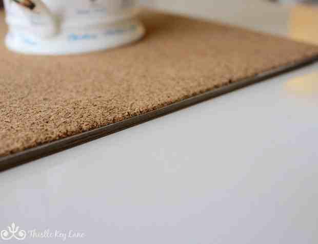 Close up of cork desk pad