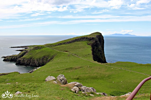 View of the cliff hiding the lighthouse at Neist Point