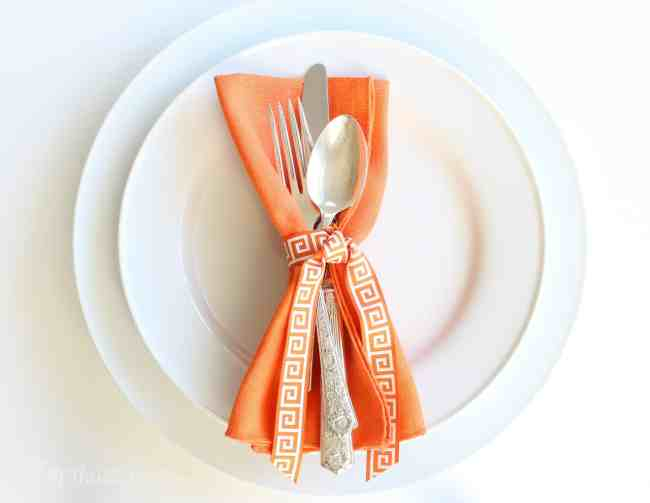 Orange Napkin with Ribbon
