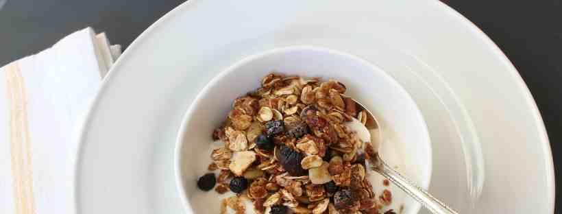 Homemade granola with yogurt or fruit.