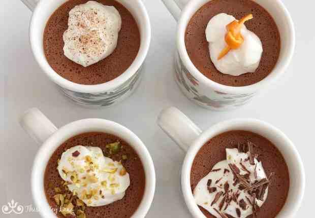 Pot de crème with individual garnish.
