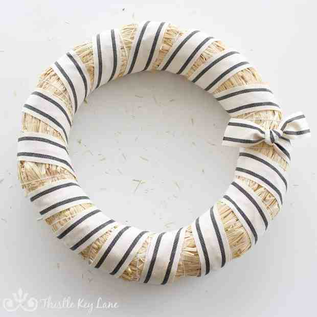 Winter White Striped Wreath