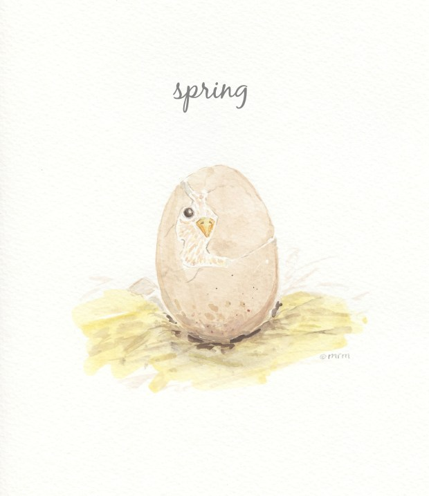 Spring Chick Watercolor Free Printable