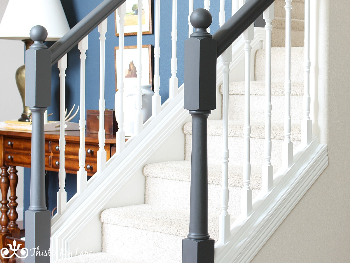 Updated Stairs Hand Rail With Iron Ore Paint SW