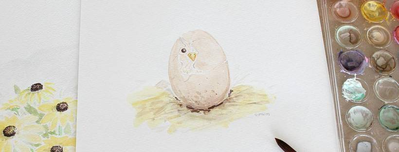 Free Printable! Spring chick watercolor.