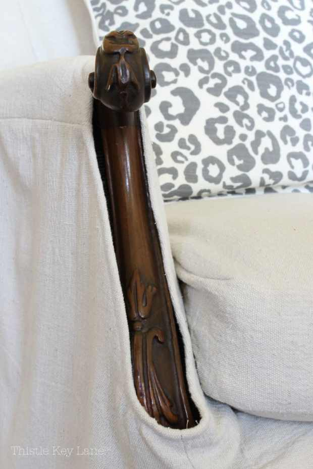 Drop Cloth Armchair Slipcover Details