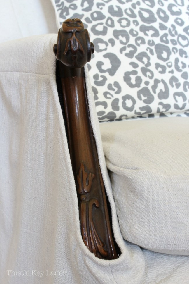 Drop Cloth Armchair Slipcover Details