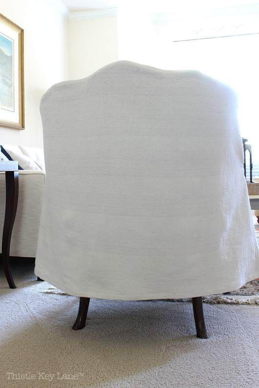 Drop Cloth Armchair Slipcover Back View