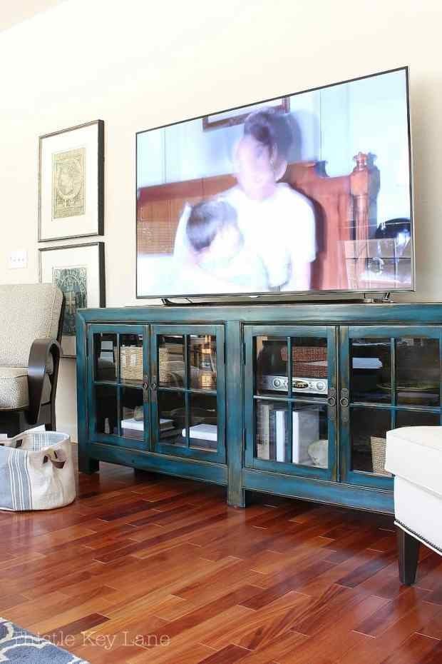 Media cabinet with room for storage.
