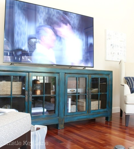 Media cabinet with storage.