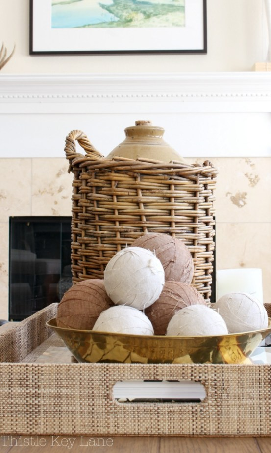 Linen wrapped balls for a vase filler
