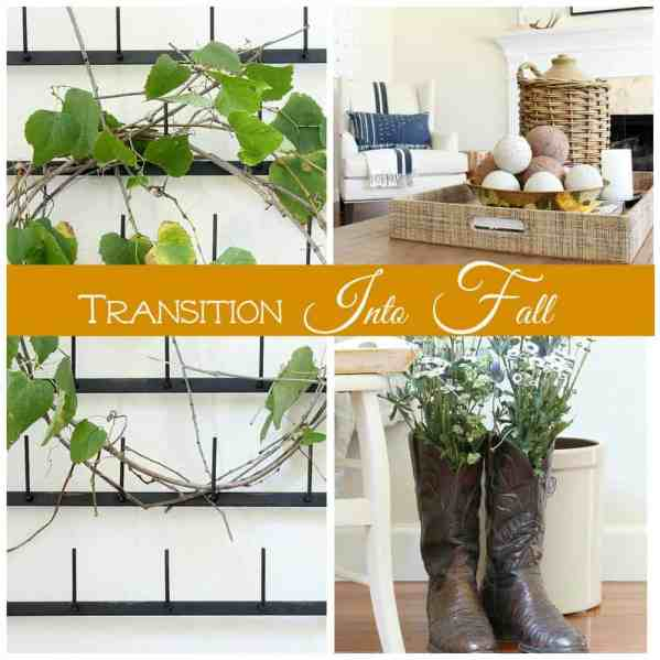 A collage of decorating ideas that transition into fall