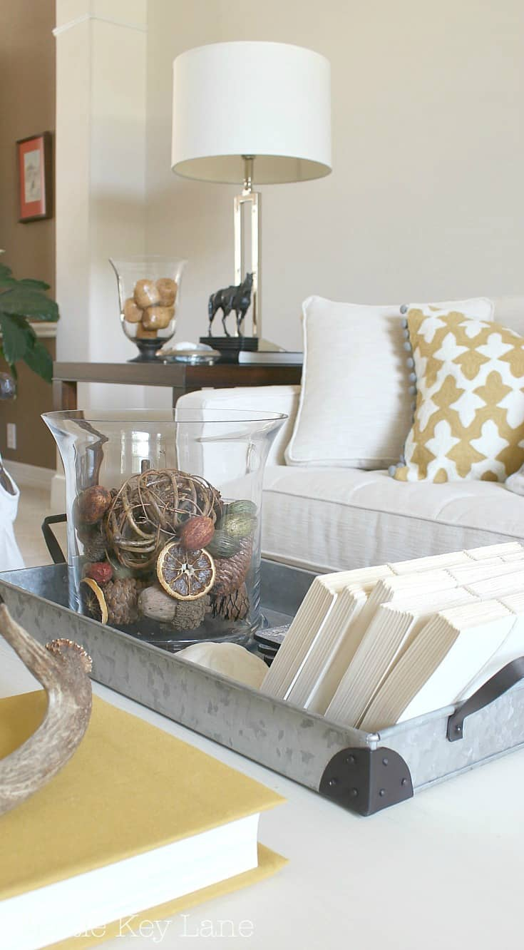 Bring metal into the decor with a galvanized tray.
