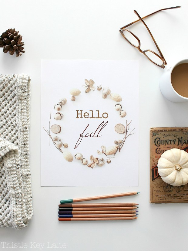 Hello Fall Free Printable Flat Lay