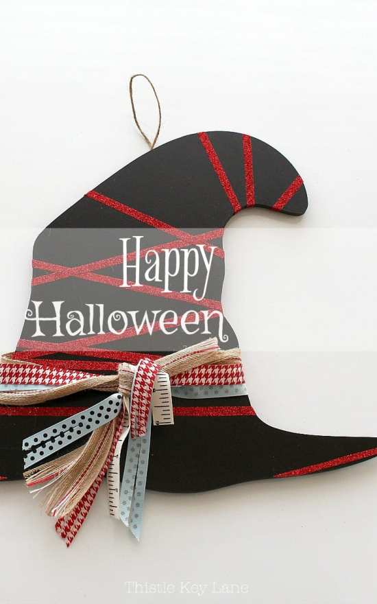Say Happy Halloween with a witch's hat door decoration.