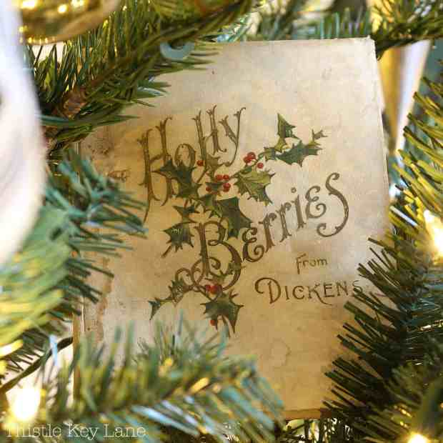 An old Dickens book tucked in the branches.