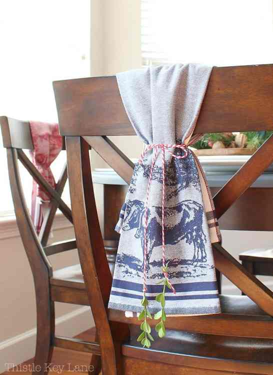 Farmhouse navy blue towels for holiday decor.
