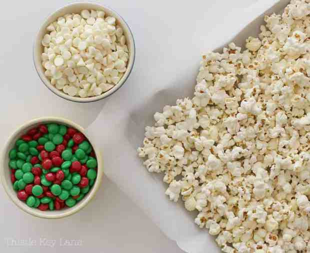 M&Ms, white chocolate chips and popcorn.