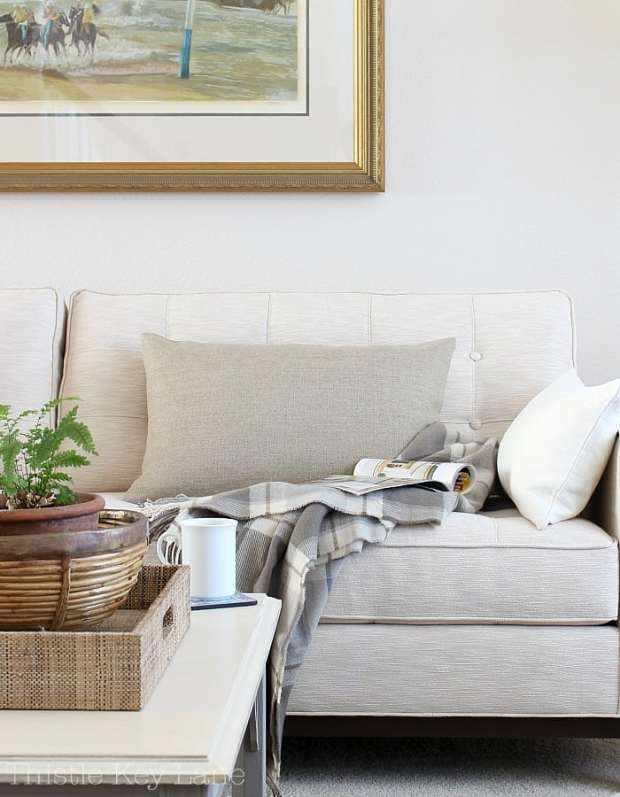 Neutral pillows add texture and comfort.