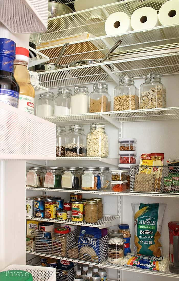 Clear storage jars let you know at a glance what you have on hand.
