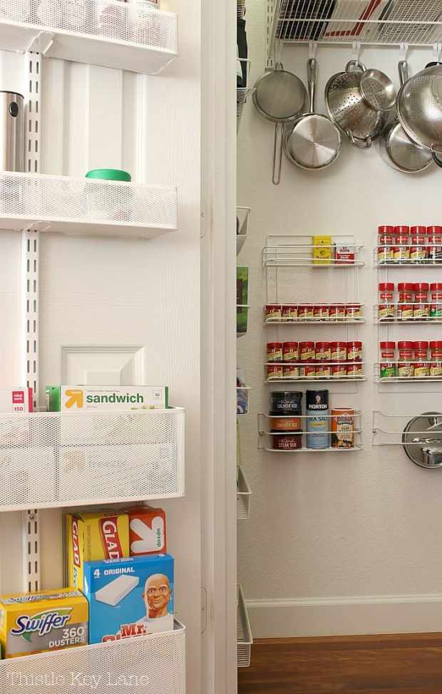 Storage racks added to pantry door and wall.