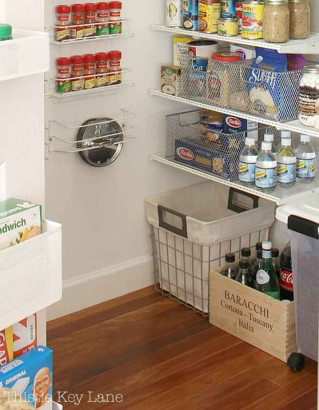 Storage in the pantry starts at floor level.