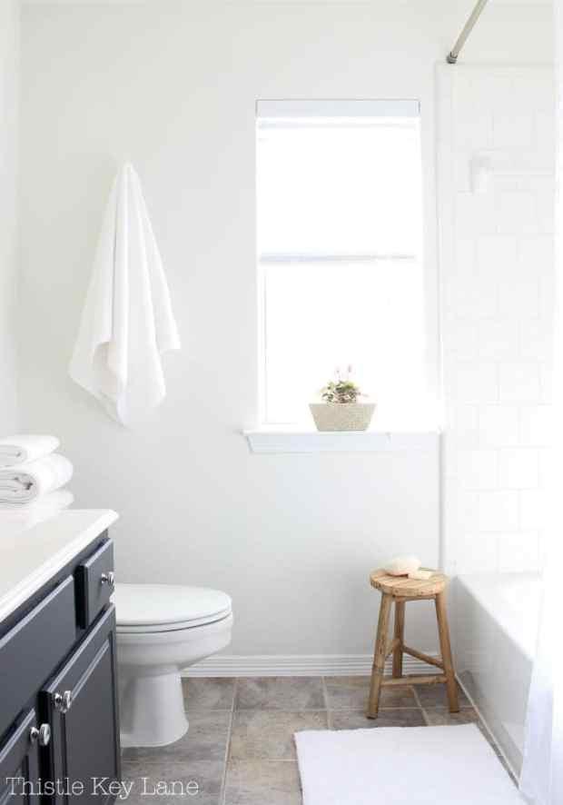 Simple classic white bathroom.