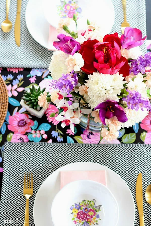 Floral and feminine spring tablescape from This Is Our Bliss.