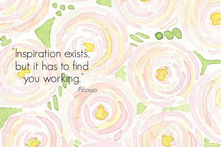 Picasso quote and pink flowers.