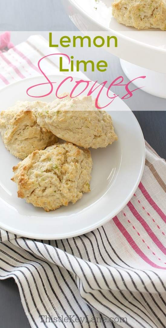 Lemon lime scones on a white plate framed by striped napkin.
