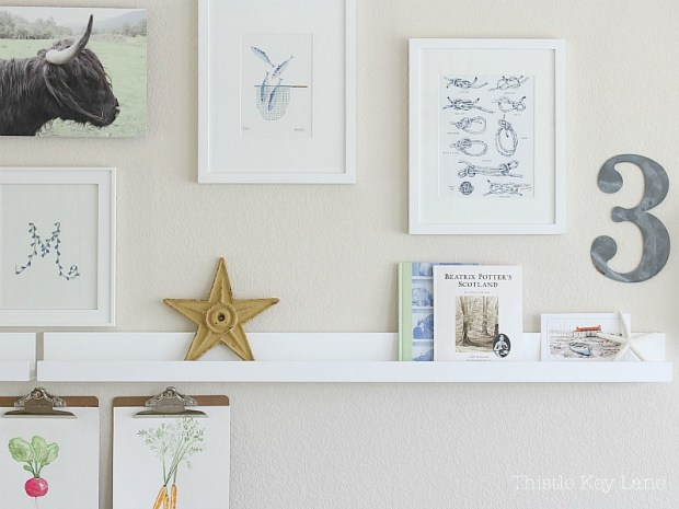 Gallery wall ideas with a shelf.