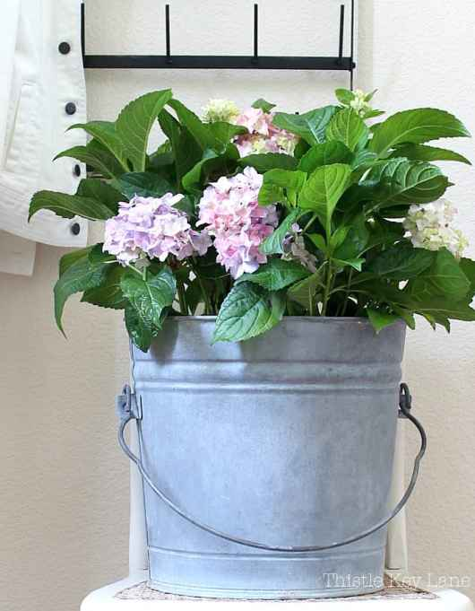 This is how to take a new bucket and give it a romantic aged look.