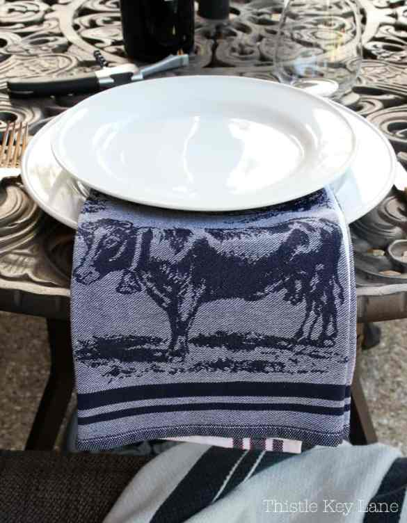 Kitchen towels make cute napkins especially for outdoor grilling.