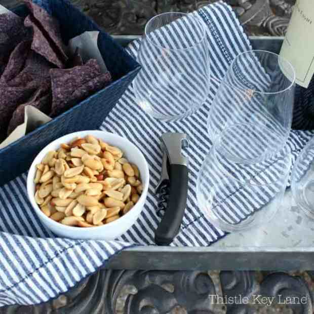 Serving trays are a must for patio entertaining.