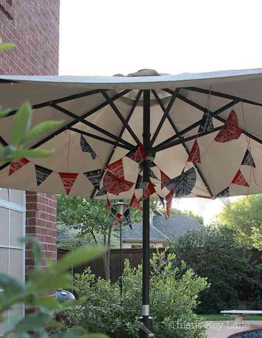 Red, white and blue bunting is a fun patio decoration all summer long.