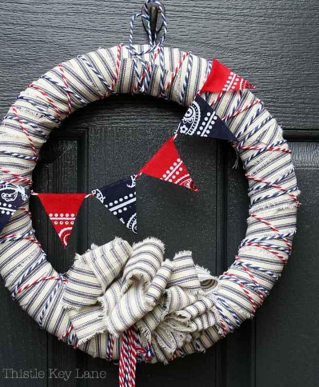 Decorate a door with patriotic colors