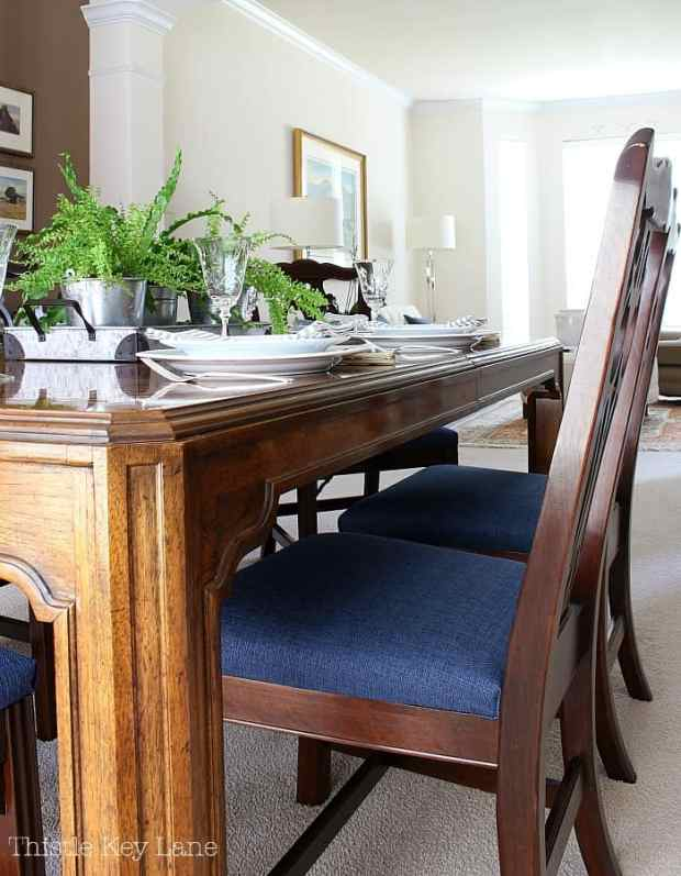 Love the blue in the dining room.