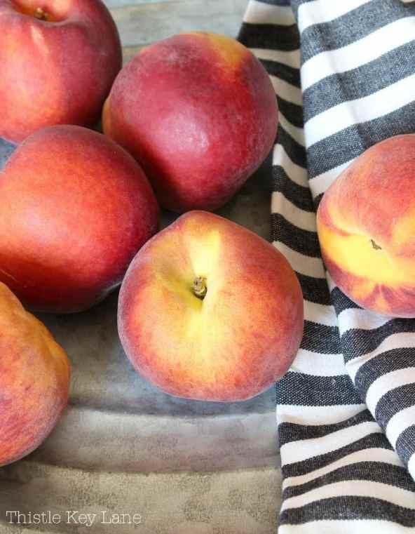 Fresh ripe peaches ready to eat.