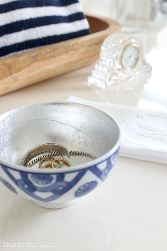 Add an elegant touch by adding silver leaf to a bowl.