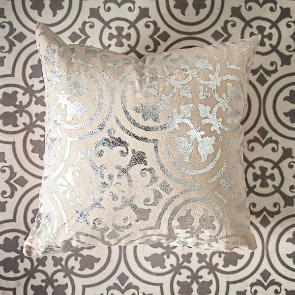 Silver leaf on a pillow using a stencil. So elegant!