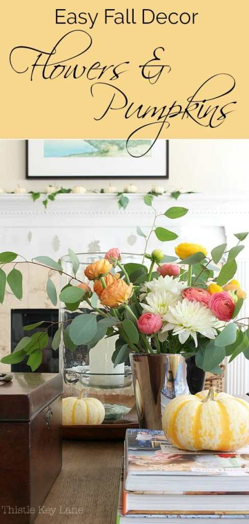 Colorful flowers and bright pumpkins for easy fall decor.