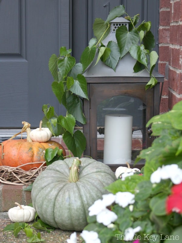 Front porch vignette with gray, orange and white pumpkins.