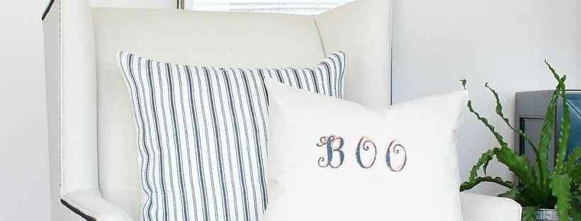 "So simple to make a ""Boo"" stenciled pillow cover."