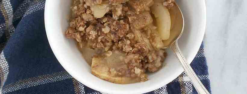 Apple Crisp | White Bowl | Blue Paid Flatly