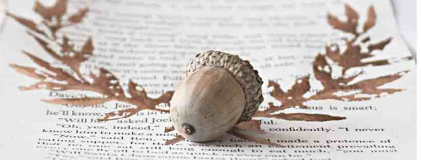Copper leaf laurel on a book page with an acorn.