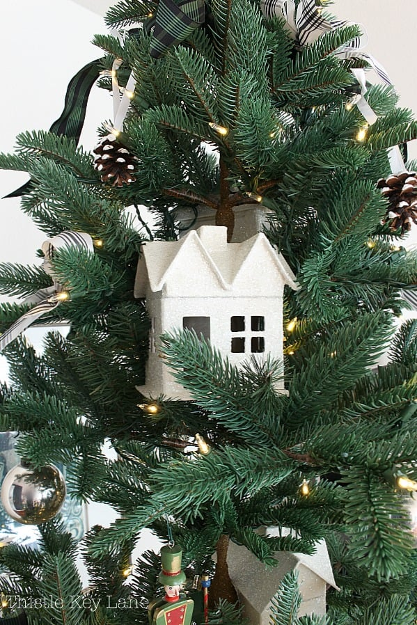glitter house on the christmas tree