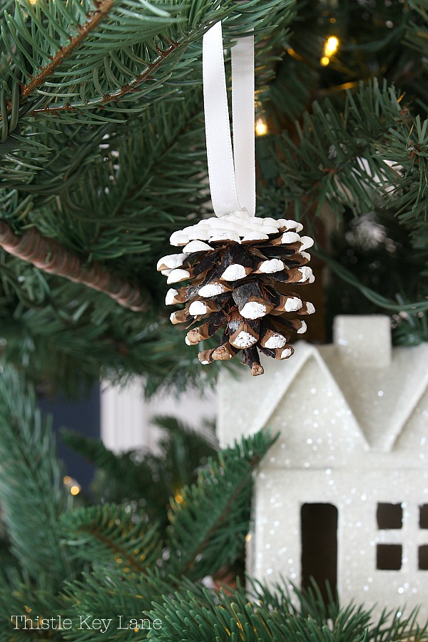 Snowy pinecone ornaments.