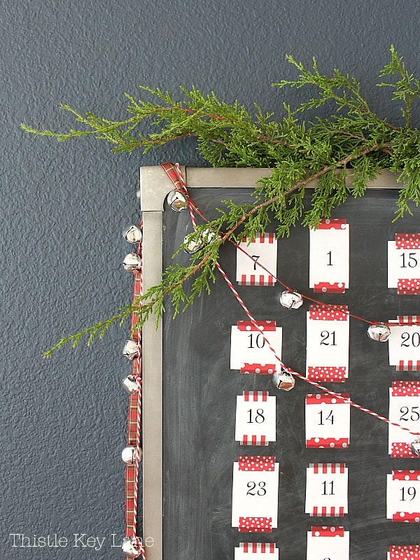 Fresh greenery crowning the advent calendar.