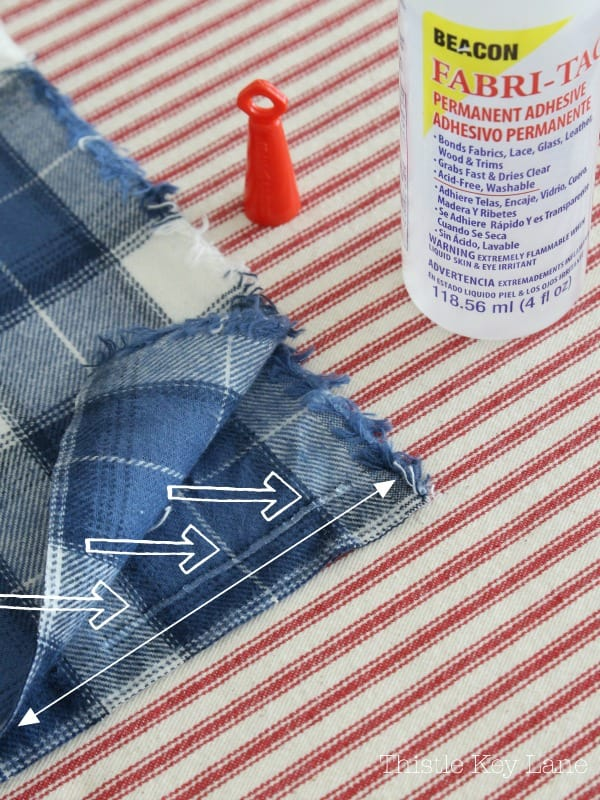 Plaid fabric and fabric adhesive.